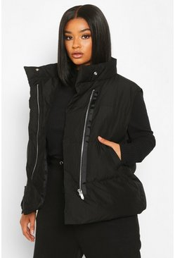 Womens Black Plus Sleeveless Puffer Gilet