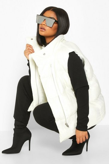 Womens White Plus Sleeveless Puffer Gilet