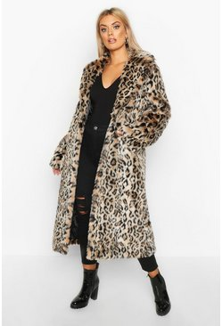 Womens Brown Plus Leopard Faux Fur Longline Coat