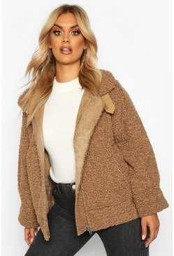 Womens Stone Plus Teddy Faux Fur Trim Suede Aviator Jacket