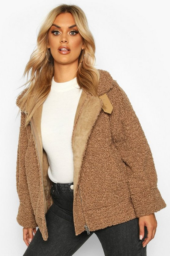 Plus Teddy Faux Fur Trim Suede Aviator Jacket