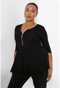 Black Plus Zip Front Rib Peplum Top