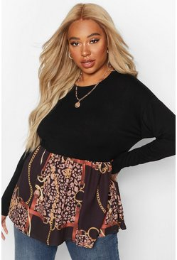 Black Plus Contrast Chain Print Long Sleeve Smock Top