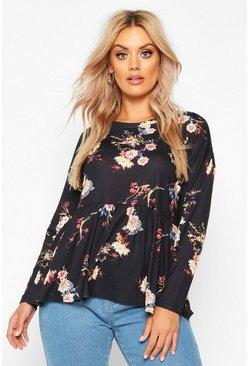 Womens Black Plus Dark Floral Long Sleeve Smock Top
