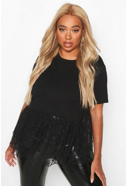 Black Plus Contrast Polka Dot Mesh Smock Top