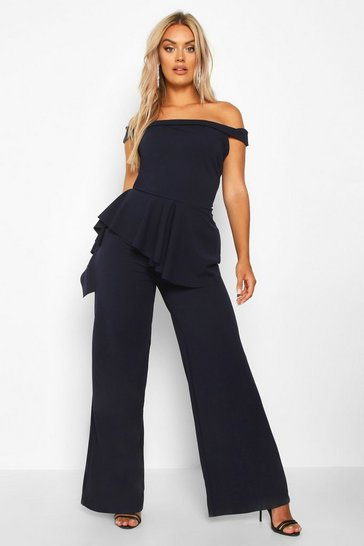 Womens Navy Plus Off Shoulder Ruffle Peplum Jumpsuit