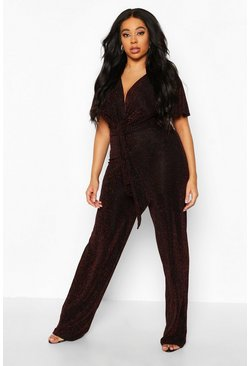 Black Plus Glitter Plunge Angel Sleeve Wide Leg Jumpsuit