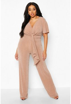 Nude Plus Glitter Plunge Angel Sleeve Wide Leg Jumpsuit