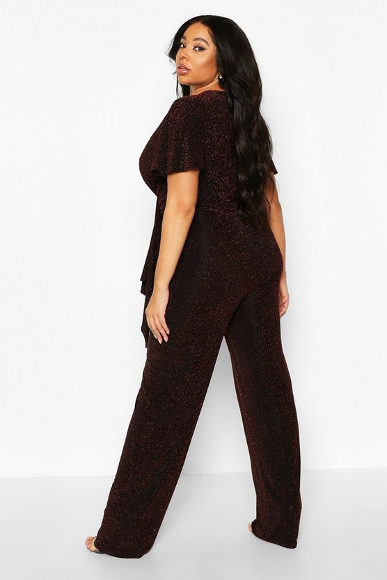 Plus Glitter Plunge Angel Sleeve Wide Leg Jumpsuit