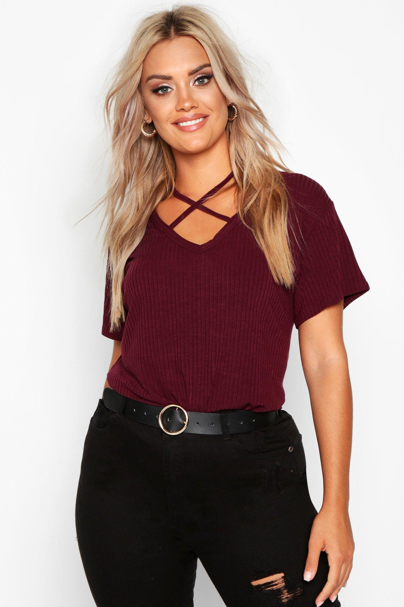 Plus Cross Front Strap Ribbed T-Shirt 4