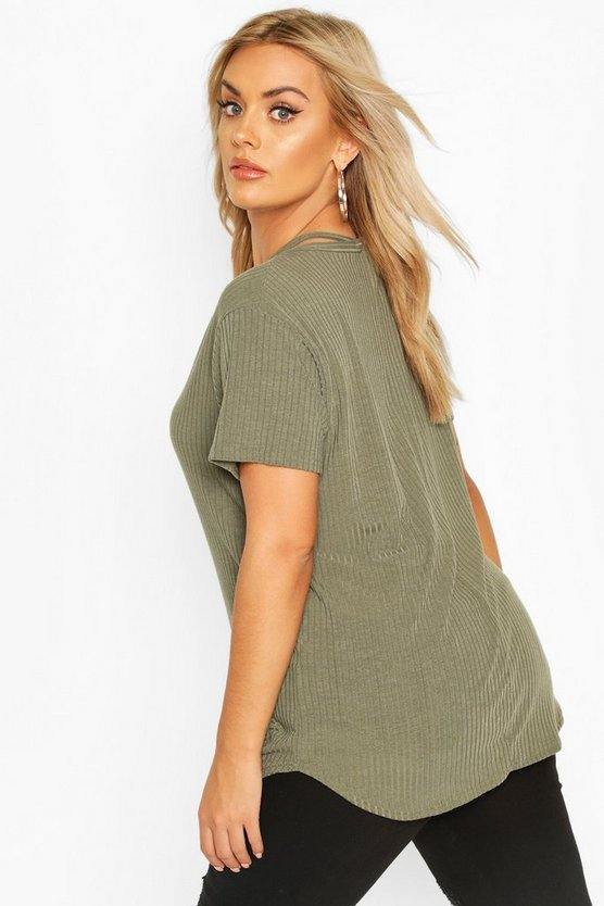 Plus Cross Front Strap Ribbed T-Shirt