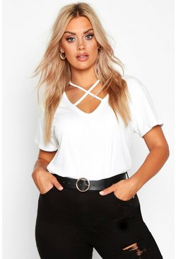 White Plus Cross Front Strap Ribbed T-Shirt
