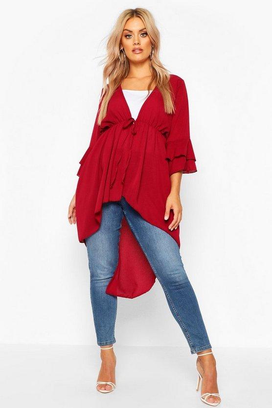 Plus Woven Frill Sleeve Dip Hem Kimono