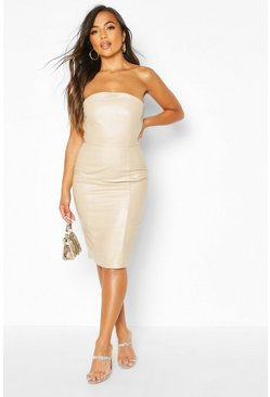 Womens Stone Petite Bandeau PU Midi Dress
