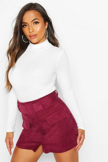Womens Berry Petite Belted Cord Mini Skirt
