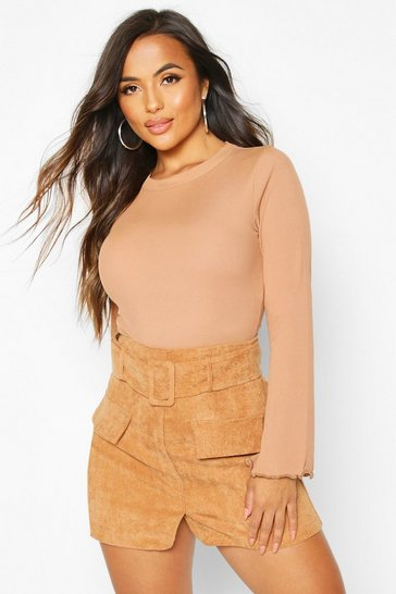 Womens Tan Petite Belted Cord Mini Skirt