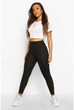 Black Petite Basic Rib Leggings