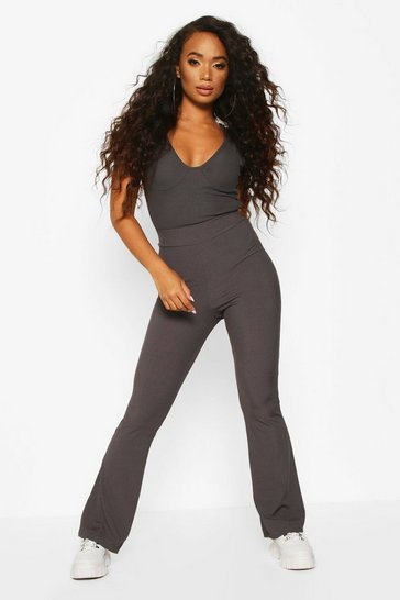 Womens Grey Petite Basic Rib Flares