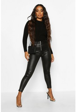 Womens Black Petite Zip Up Wet Look Leggings