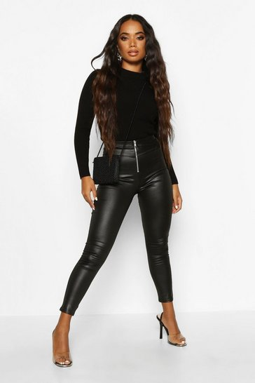 Black Petite Zip Up Wet Look Leggings