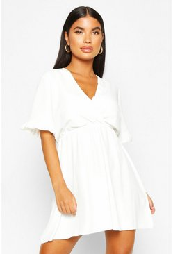 Womens White Petite Ruffle Sleeve V-Neck Skater Dress