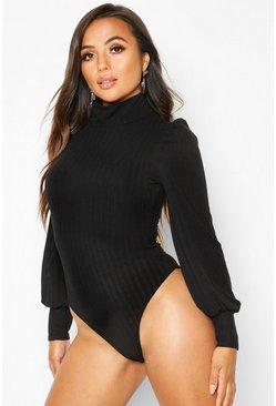 Black Petite Fine Knit Rib Balloon Sleeve Bodysuit