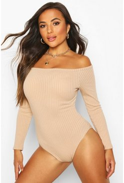 Womens Hazelnut Petite Off The Shoulder Knitted Rib Bodysuit