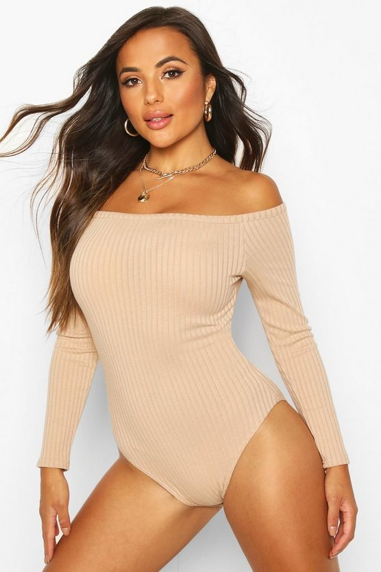 Petite Off The Shoulder Knitted Rib Bodysuit
