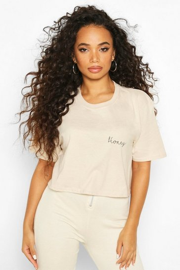 Womens Stone Petite 'Honey' Slogan T-Shirt