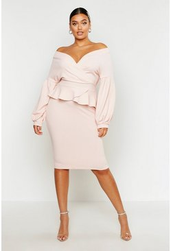 Womens Blush Plus Off The Shoulder Wrap Peplum Dress