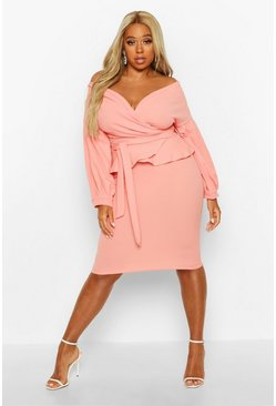 Coral blush Plus Off The Shoulder Wrap Peplum Dress
