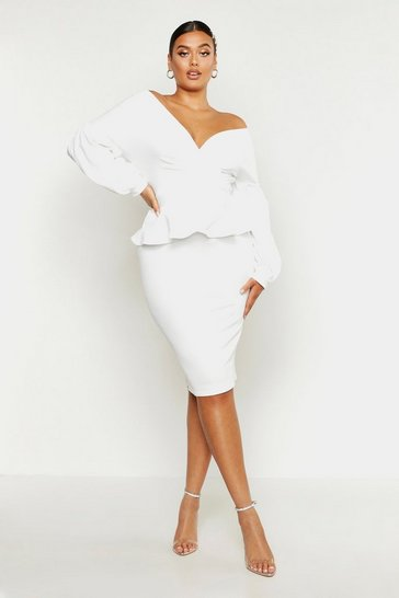 Womens Ivory Plus Off The Shoulder Wrap Peplum Dress