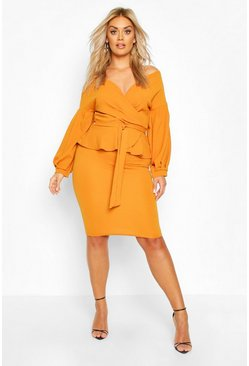 Mustard Plus Off The Shoulder Wrap Peplum Dress