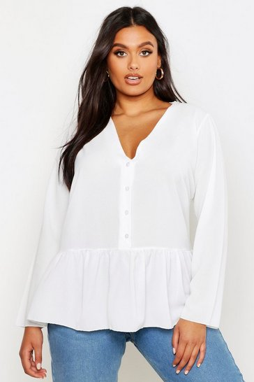 Womens White Plus Woven Peplum Hem Collarless Shirt