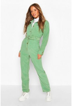 Womens Khaki Petite Corduroy Belted Boilersuit