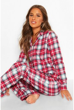 Womens Pink Petite Flannel Check Long PJ Set