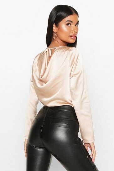 Champagne Petite Cowl Back Satin Long Sleeve Bodysuit