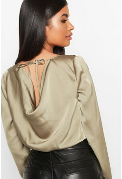 Dam Olive Petite Cowl Back Satin Long Sleeve Bodysuit