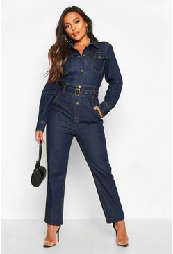 Dam Blue Petite Denim Utility Boilersuit