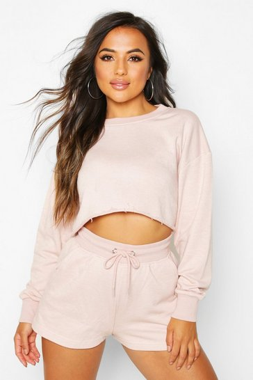 Womens Blush Petite Short and Sweat Loungewear Set