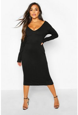 Black Petite Jumbo Rib Slouchy Neck Midi Dress
