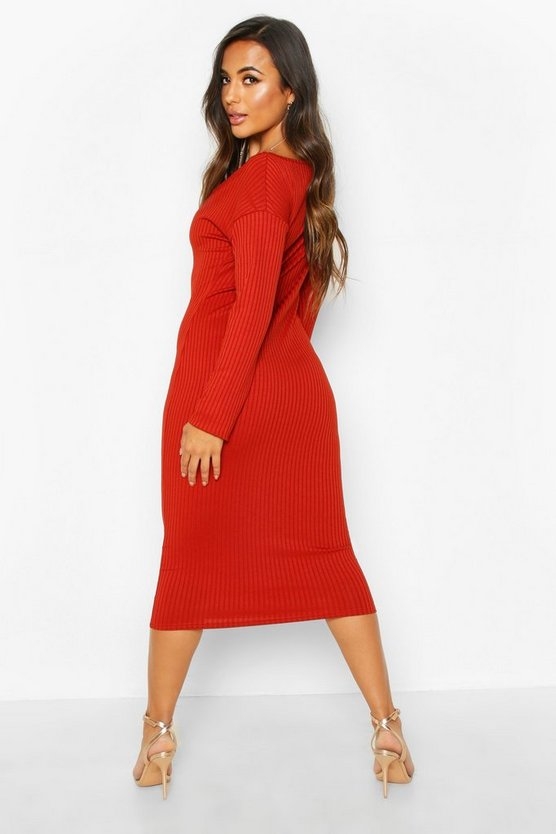 Petite Jumbo Rib Slouchy Neck Midi Dress