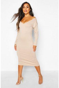 1a44db79 Petite Jumbo Rib Slouchy Neck Midi Dress