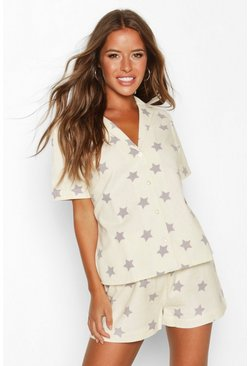 Dam Ecru Petite Flannel Star Print Shorts PJ Set