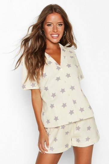 Womens Ecru Petite Flannel Star Print Shorts PJ Set
