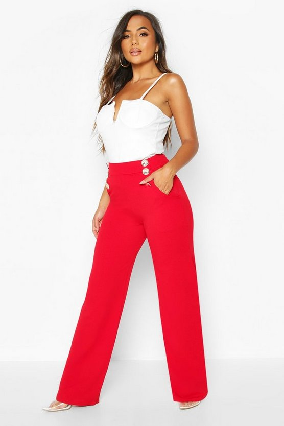 Red Petite Button Detail Wide Leg Trousers
