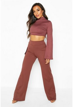Womens Chocolate Petite Jumbo Rib Wide Leg Trousers