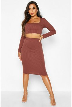 Womens Chocolate Petite Jumbo Rib Midi Skirt