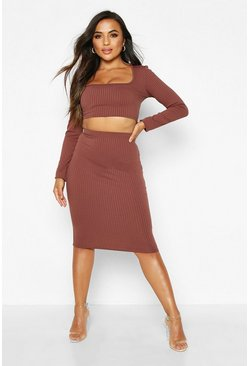 Chocolate Petite Square Neck Jumbo Rib Crop Top