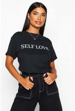 Dam Black Petite 'Self Love' Slogan T-Shirt